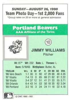 1990 CMC Portland Beavers #10 Jimmy Williams Back