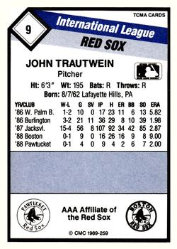 1989 CMC Pawtucket Red Sox #9 John Trautwein  Back