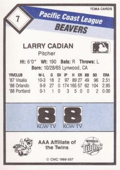 1989 CMC Portland Beavers #7 Larry Casian  Back