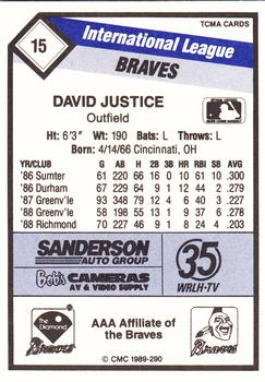 1989 CMC Richmond Braves #15 David Justice  Back