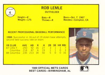1989 Best Columbia Mets #4 Rob Lemle  Back