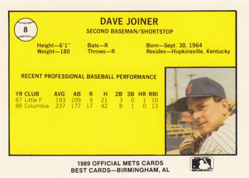 1989 Best Columbia Mets #8 Dave Joiner  Back
