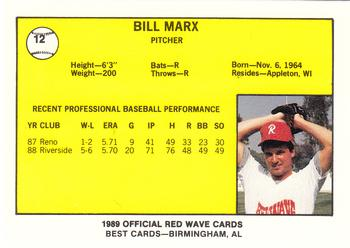 1989 Best Riverside Red Wave #12 Bill Marx  Back