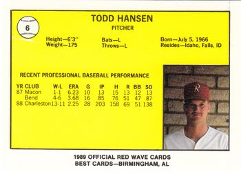 1989 Best Riverside Red Wave #6 Todd Hansen  Back