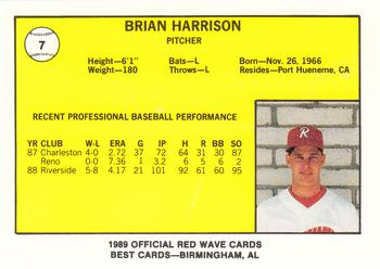 1989 Best Riverside Red Wave #7 Brian Harrison  Back
