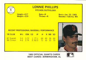 1989 Best San Jose Giants #5 Lonnie Phillips  Back