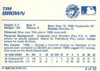 1990 Star Dunedin Blue Jays #4 Tim Brown Back