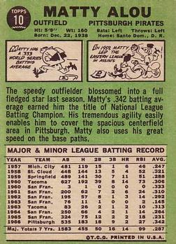 1967 Topps #10 Matty Alou Back