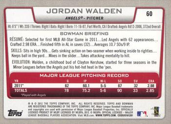 2012 Bowman #60 Jordan Walden Back