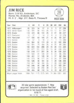 1988 Donruss Baseball's Best #28 Jim Rice Back
