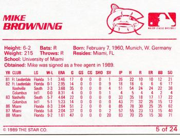 1989 Star Columbus Mudcats #5 Mike Browning Back