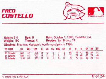 1989 Star Columbus Mudcats #6 Fred Costello Back