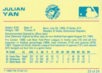 1988 Star Florida State League All-stars #52 Julian Yan Toronto Blue Jays Card Sports Trading Cards Sports Mem, Cards & Fan Shop