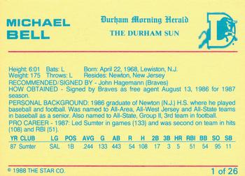 1988 Star Durham Bulls #1 Mike Bell Back