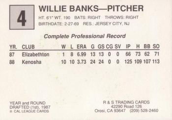 1989 Cal League All-Stars #4 Willie Banks Back