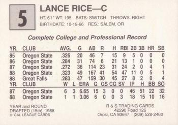 1989 Cal League All-Stars #5 Lance Rice Back