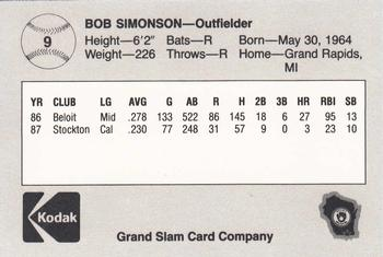 1988 Grand Slam Beloit Brewers #9 Bob Simonson Back