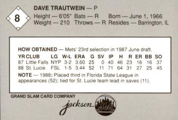 1989 Grand Slam Jackson Mets #8 Dave Trautwein Back
