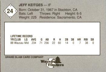 1989 Grand Slam Wausau Timbers #24 Jeff Keitges Back