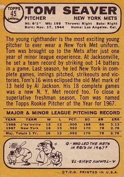 1968 Topps #45 Tom Seaver Back
