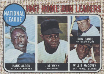 1968 Topps #5 Hank Aaron / Jim Wynn / Ron Santo / Willie McCovey Front