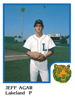 1986 ProCards Lakeland Tigers #1 Jeff Agar Front