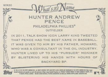 2012 Topps Allen & Ginter - What's in a Name? #WIN30 Hunter Pence Back