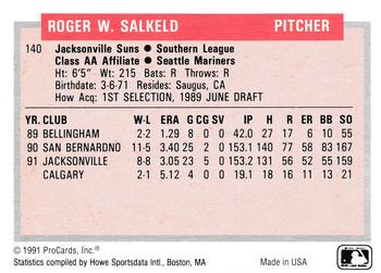 1991-92 ProCards Tomorrow's Heroes #140 Roger Salkeld Back