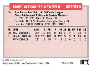 1991-92 ProCards Tomorrow's Heroes #144 Marc Newfield Back
