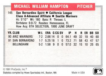 1991-92 ProCards Tomorrow's Heroes #145 Mike Hampton Back