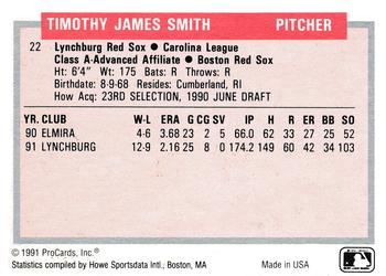 1991-92 ProCards Tomorrow's Heroes #22 Tim Smith Back