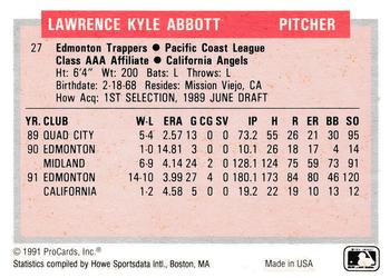 1991-92 ProCards Tomorrow's Heroes #27 Kyle Abbott Back