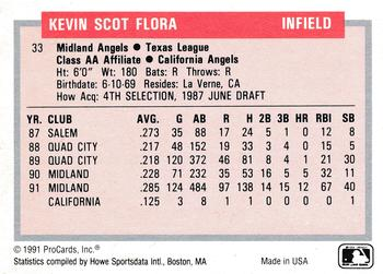 1991-92 ProCards Tomorrow's Heroes #33 Kevin Flora Back