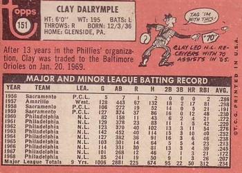 1969 Topps #151 Clay Dalrymple Back