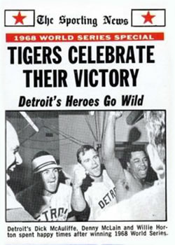 1969 Topps #169 1968 World Series Summary - Tigers Celebrate Their Victory Front