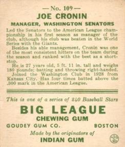 1933 Goudey #109 Joe Cronin Back