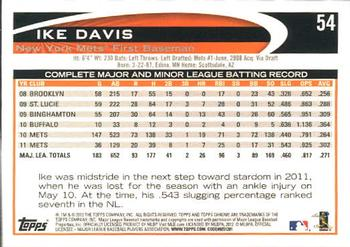 2012 Topps Chrome #54 Ike Davis Back
