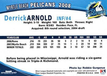 2008 Grandstand Myrtle Beach Pelicans 2 Derrick Arnold Back