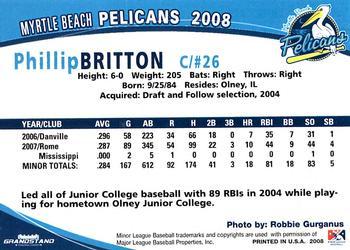 2008 Grandstand Myrtle Beach Pelicans 3 Phillip Britton Back