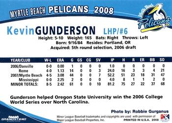 2008 Grandstand Myrtle Beach Pelicans 11 Kevin Gunderson Back
