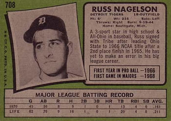 1971 Topps #708 Russ Nagelson Back