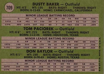 1971 Topps #709 Rookie Outfielders - Dusty Baker / Tom Paciorek / Don Baylor Back
