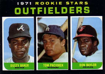 1971 Topps #709 Rookie Outfielders - Dusty Baker / Tom Paciorek / Don Baylor Front