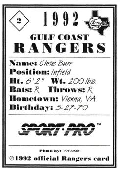 1992 Sport Pro Gulf Coast Rangers #2 Chris Burr Back