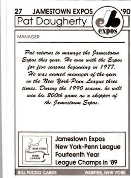 1990 Pucko Jamestown Expos #27 Pat Daugherty Back