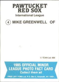 1985 TCMA Pawtucket Red Sox #4 Mike Greenwell Back
