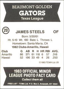 1983 TCMA Beaumont Golden Gators #20 James Steels Back