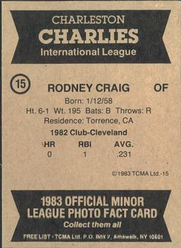 1983 TCMA Charleston Charlies #15 Rodney Craig Back