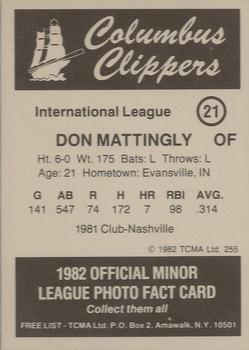 1982 TCMA Columbus Clippers #21 Don Mattingly Back