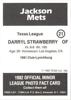 1982 TCMA Jackson Mets #21 Darryl Strawberry Back